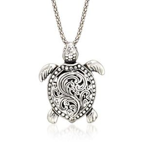 Sterling Silve Ross Simons Turtle Pendant Necklace